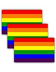 "ANLEY 5""X 3"" LGBT Pride Naklejki 3szt.- Rainbow Flag Lesbian Gay Bisexual Transgender Pride Odblaskowe naklejki na zderzak - Zestaw 3"