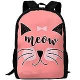 OIlXKV Cat Meow Print Custom Casual School Bag Backpack Multipurpose Travel Daypack For Adult