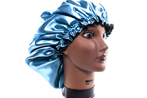 "(X-Large, TURQUOISE) - New 24"" Handmade Fully Reversible - High Quality Luxuries Pure Satin Hair Bonnet satin sleep cap Safe For All Hair Types - Most Beneficial Hair care Product ()"