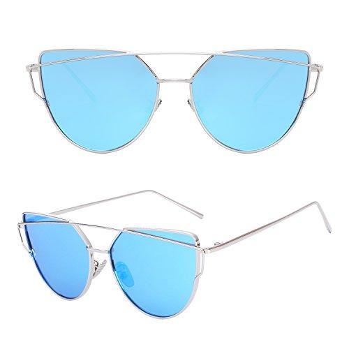 Soleil Réfléchissantes et A Modernes Lunettes MJ74 Polarisées UV400 Pour de Cateye Bleu Argenté Femmes CGID Fashion StF0n