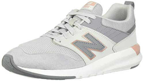 New Balance Women's 009v1 Lifestyle Shoe Sneaker, Light Aluminum/Rose Gold, 8 M US