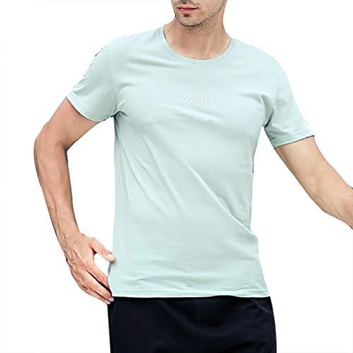 Mens Casual Fashion Letter Printing Shirt Short Sleeve T-Shirt Blouse Tops Green