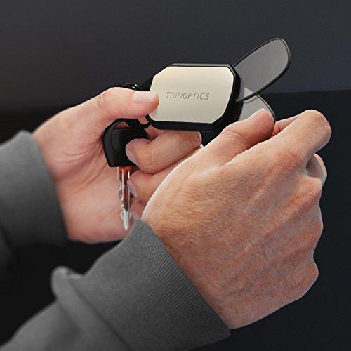 ThinOPTICS Keychain Reading Glasses, Brown Frame, 1.50 Strength