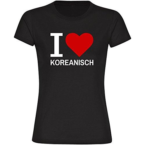 T-Shirt Classic I Love Koreanisch schwarz Damen Gr. S bis 2XL