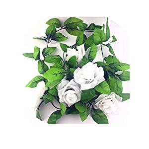 2.5m Silk Roses Ivy Vine with Green Leaves for Home Wedding Decoration Fake Leaf DIY Hanging Garland Artificial Flowers,White 28