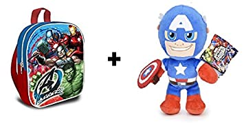 Los Vengadores (The Avengers - Marvel) - Pack Peluche Capitan America 30cm + Mochila