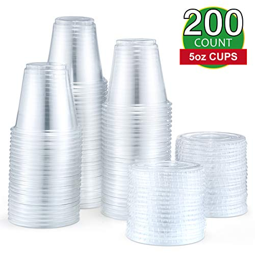Eupako 5 oz Disposable Plastic Portion Cups with Lids 200 Sets, Jello Shot Cups, Souffle Cups, Condiment Cups, Fruit Cups with Lid