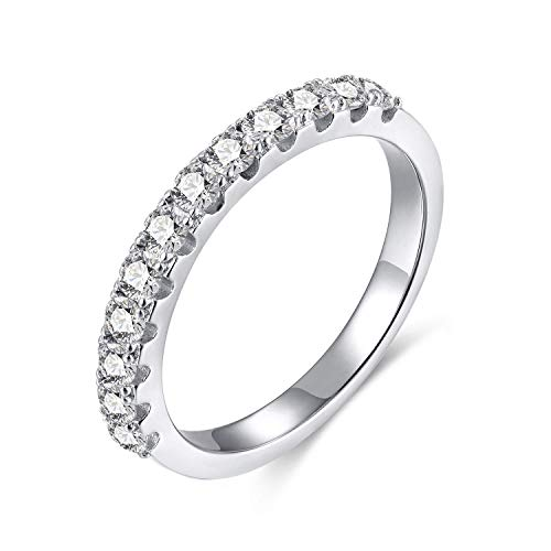 EAMTI 2mm 925 Sterling Silver Wedding Band Cubic Zirconia Half Eternity Stackable Engagement Ring Size 3-12 (Silver-3mm, 11)