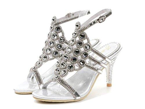 sandalias de 8cm los Talón finely las Rhinestones followed del del fino verano alto Plata SHFANG de las lujo Partido Sandalia silver Banquete diamante de señoras w8qq01p