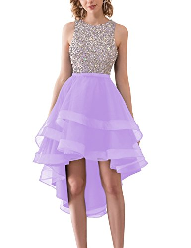 Bess Dress Back Bridal Tulle Low Beaded Women's Lilac Neck Round High Homecoming Open rrafqw1