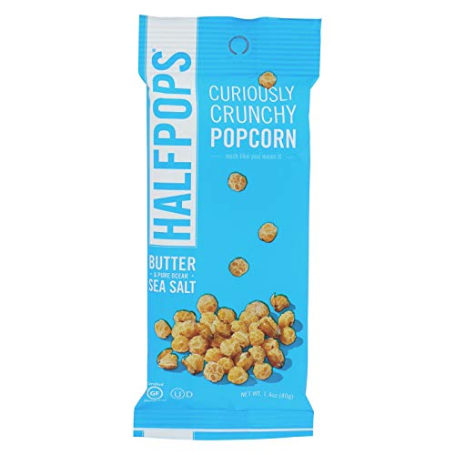Halfpops Curiously Crunchy Popcorn Butter and Pure Ocean Sea Salt 1.4 Oz - Pack of 15