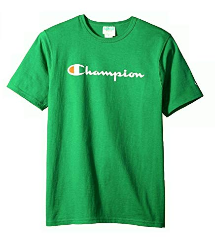 (Champion LIFE Men's Heritage Tee, CHP Script Embroidery/Kelly Green, Small)