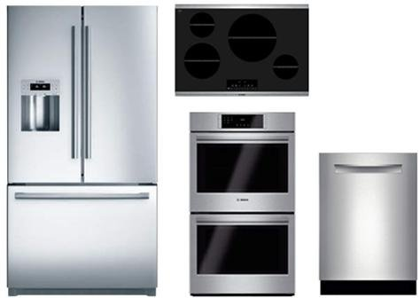"Bosch 4-Piece Kitchen Package with B26FT80SNS 36"" French Door Refrigerator, NIT8066SUC 30"" Electric Cooktop SHP68T55UC 24"" Built In Dishwasher and HBL8651UC 30"" Double Electric Oven in Stainless Steel"