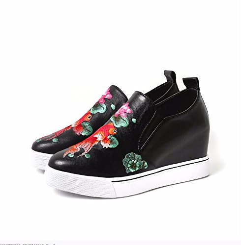 Spring Nouvelle D'Augmenter Cuir De Unique Une 8 Cm Un Hill Femmes Noir De Augmentation Dans KHSKX Les Nation 35 Et Simili La Chaussures Chaussures 7w4zxqapq