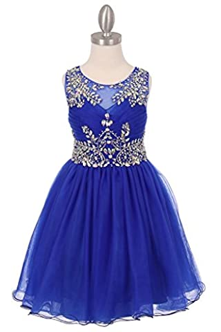 The Couture Dresses-Tulle AB stone wired short dress, Royal Blue 14 - Couture Formal Dresses