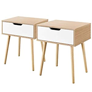 YAHEETECH Mid Century Sofa Side End Table with Storage Drawer Wood Legs, 19L x 16W x 22.5H Inch, Set of 2