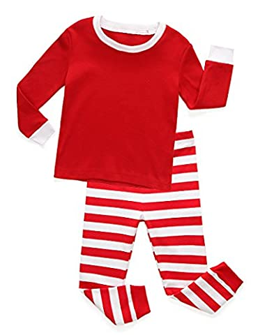 Holiday Red and White Striped Baby and Toddler Pajama Set-Plain (7)
