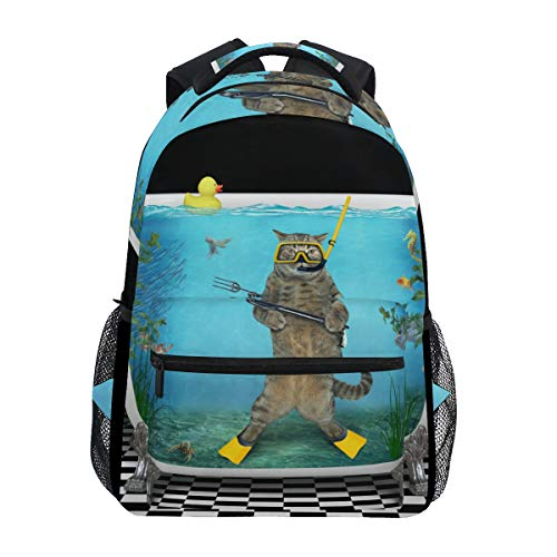 (TARTINY Cute Cat Diver Speargun Underwater On Lightweight School backpack Students College Bag Travel Hiking Camping Bags )