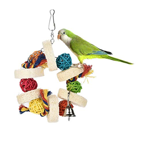 Loneflash Bird Chewing Toy -for Physical & Psychological Well-Being of Your Parrots - Nibbling Keeps Beaks Trimmed - Preening Keeps Feathers Clean - Multicolored Wooden Blocks Attract Pet's Attention