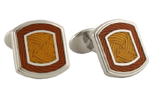 David Donahue Silver Rectangle Cufflinks - Gold/Burnt Orange (H95544802)