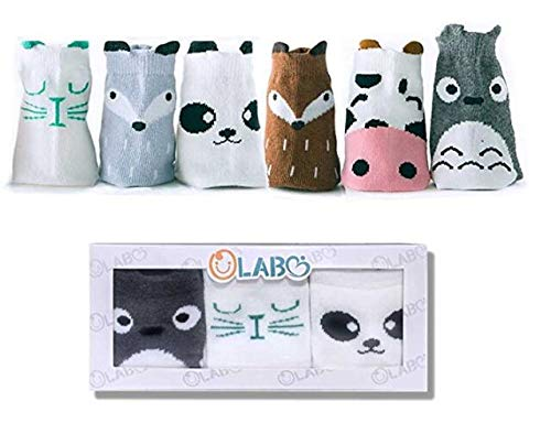 OLABB Toddler Socks with Grips Animal Crew Socks Non-skid 6 Pairs Gift Set (Boys C, M 1-3 years)