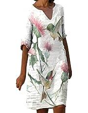 Zomerjurk voor dames, elegant, knielang, modieus, met kaart en oceaanprint, mouwloos, V-hals, casual, losse T-shirt, jurk, elegante boho, strandjurk