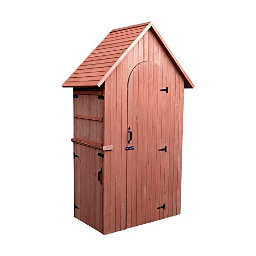 Leisure Season MCS3815 Multi Compartment Shed with Drop Table - Brown - Wooden Outdoor Storage for Tools, Accessories - Cabinet Organizer for Garden, Yard, Lawn - Vertical Tool Locker with - Doors Cedar Red Western