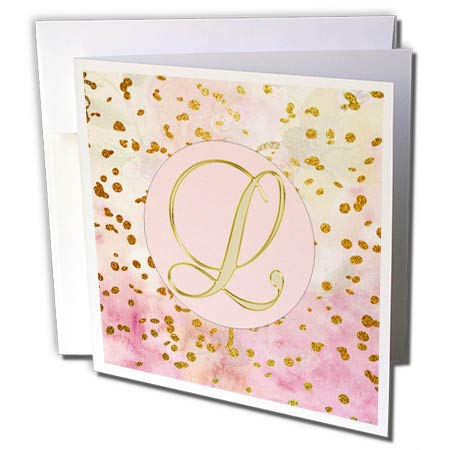 - 3dRose Lens Art by Florene - Monograms - Image of L Script Letter On Pink with Glittery Gold Swirls - 6 Greeting Cards with envelopes (gc_303678_1)