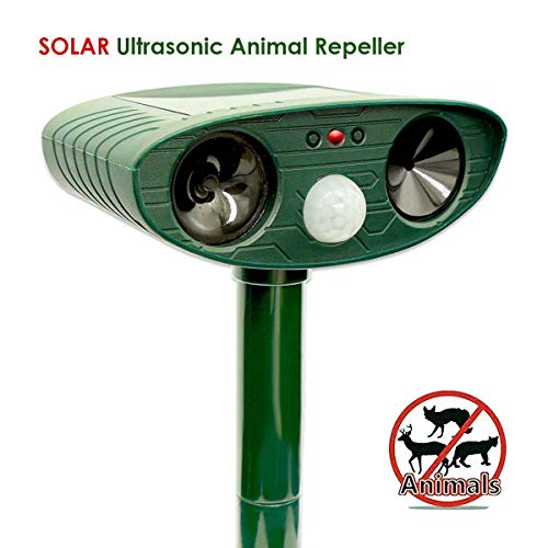 Wenscha Ultrasonic Animal Repeller, Solar Powered Repellent with Motion Sensor Ultrasonic and Red Flashing Lights Outdoor Waterproof Farm Garden Yard Repellent, Cats, Dogs, Foxes, Birds, Skunks, Rod by Wenscha