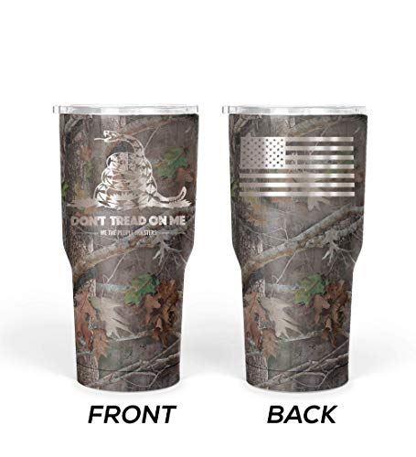 We The People - Don't Tread On Me Coffee Mug - Stainless Steel Travel Mug with American Flag - 30 oz Insulated Tumbler - Gadsden Flag Army Tumbler - Military Accessories (Camouflage)