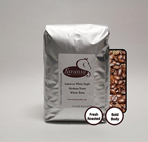 Lavanta Coffee Roasters Sulawesi Toraja 'White Eagle' Freshly Roasted Direct Trade Coffee, Medium Whole Bean, 5lb