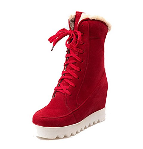 AgooLar Women's Frosted Solid Lace-up Round-Toe High-Heels Boots Red