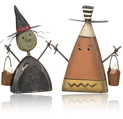 Halloween Decoration Figures (Vintage Chunky Witch Candy Corn Ghost Figurines Sitter) (Wood Halloween Decorations)