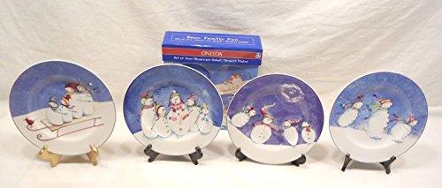 Snow Oneida (SNOW FAMILY FUN, SET OF FOUR STONEWARE SALAD/DESSERT PLATES, ONEIDA)