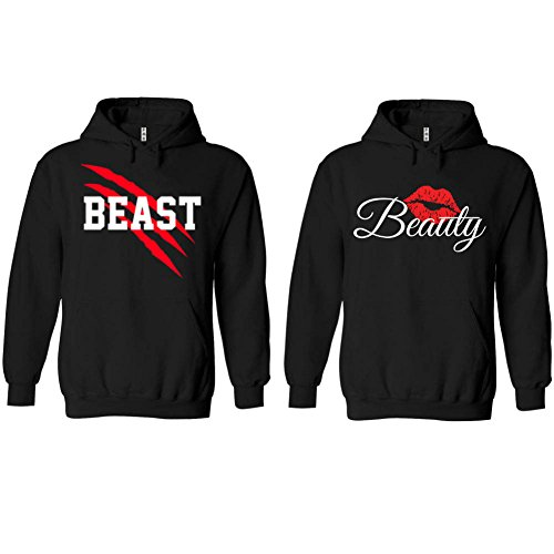 SR New Beast and Beauty - Couple Matching Hoodie - His and Her Sweatshirt-Black-Large-Beauty ONLY