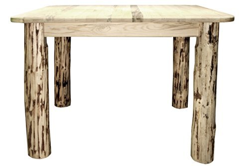 Montana Woodworks Collection 4 Post Square Dining Table, Clear Lacquer Finish - Handcrafted in Montana, U.S.A. Made with Genuine Lodge Pole Pine Curbside Shipping within the Continental 48 States Included - kitchen-dining-room-furniture, kitchen-dining-room, kitchen-dining-room-tables - 41ZZOAvcmfL -