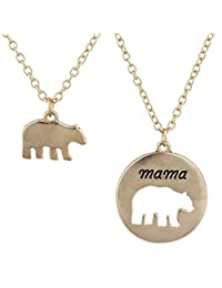 Lux Accessories Goldtone Mama Bear Mother Daughter Charm Pendant Necklace 2PC