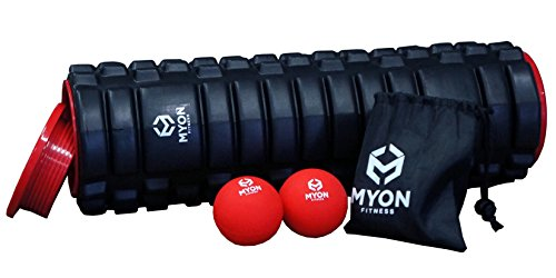 Myon Fitness 18  Precision Foam Roller Bundle   Includes  2  Trigger Point Balls  Best For Stretching Yoga Pilates Myofascial Release Sports Recovery And Mobility