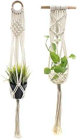 Ulable Set mit 2 hängenden Blumentöpfen / Pflanzgefäßen, mit Baumwoll-Seilen, 4Leinen für Indoor- / Outdoor-Dekoration, 2Größen (85cm)