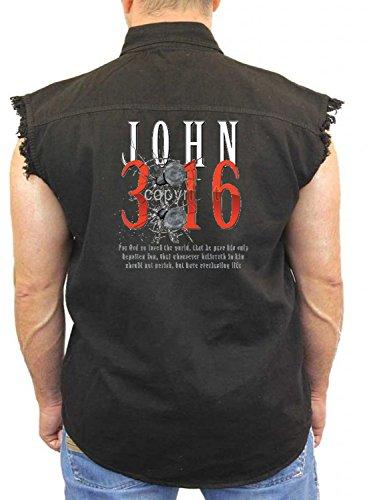 Juiceclouds | Religious Sleeveless Denim Vest John 3:16 M-5XL (Black, XL) by Juiceclouds