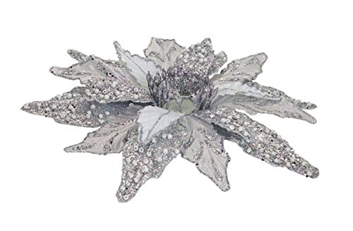 Diva At Home Set of 6 Silver Glittered Christmas Poinsettia Votive Candle Holders 12'' by Diva At Home