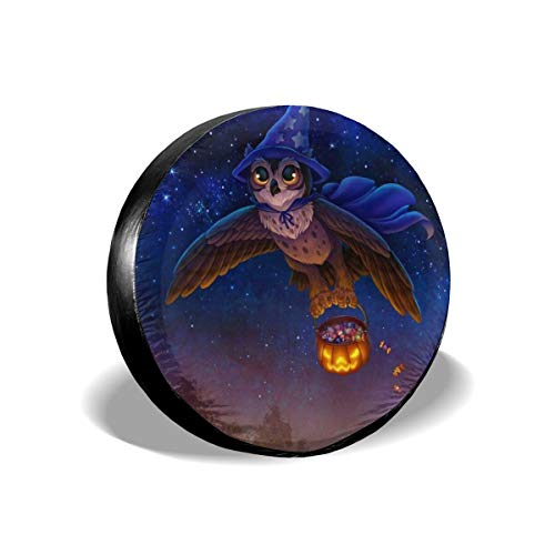 Halloween Magic Owl Pumpkin Flying Automotive Jeep Tire Wheel Covers Spare RV Waterproof Tyre Cover Universal for Jeep SUV RV Truck Trailer 14