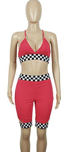 Push Dos Taille 2 t Col Up Gorge Crop Sexy Rose Haute Shirt Court Skinny de Nuit Bodycon Nu Pices Bo pissure Grille V Pantalon Bretelle te de Mode Soutiens Femmes Ensemble gzzXqwZ