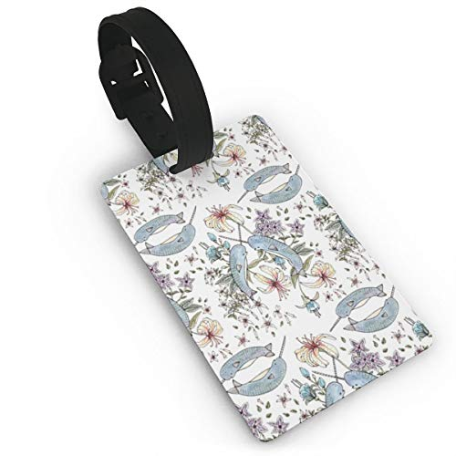 Luggage Tag Couple Narwhal Flowers Travel ID Bag Tag Suitcase Labels by LzVong