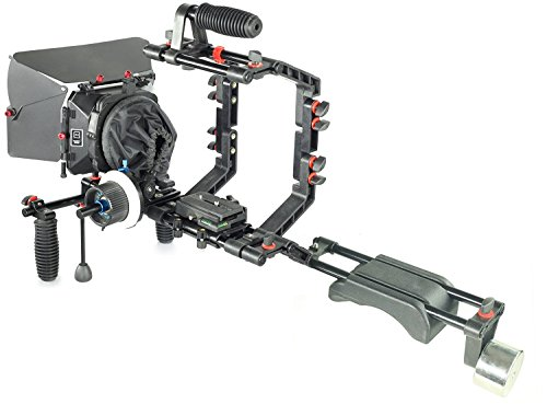 Filmcity DSLR Shoulder Support Rig Matte box Camera Cage HS-2 Follow Focus Kit