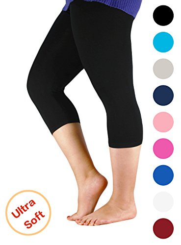 Century Star Women's Plus Size Elastic Waist Cotton Basic Solid Capri Leggings Black US 4X Plus(Tag - In Australia Usps