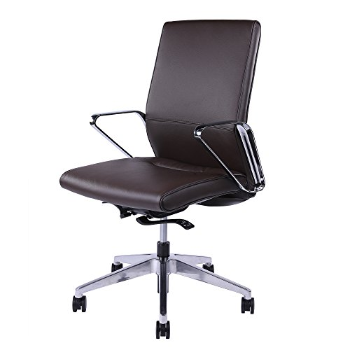 Sunon Ergonomic Office Chair Mid-Back Swivel Computer Chair Leather Upholstered Adjustable Executive Desk Chair with 4-Position Locking Synchronized Tilting and Chrome Armrest (Mid Back-Dark Brown)