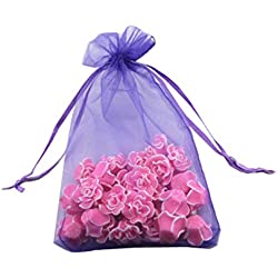 8 x 12 Inch 100 Drawstring Bags Gold Silver Fabric Jewelry Gift Pouch Candy Pouch Wedding Favors (Lilac)