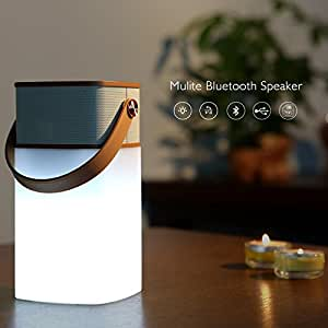 OU-BAND 5W Ultra-Portable Wireless Bluetooth Speaker LED Light Powerful Sound with Build in Microphone Support Hands-free Function TF Card Support NFC System AUX Line-in (Coffee)