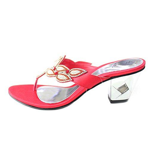 W & W Mujeres Señoras Noche Tacón Sandalias de moda comodidad sandalias diamante boda Party Zapatos Tamaño 4–10(Varia) Red